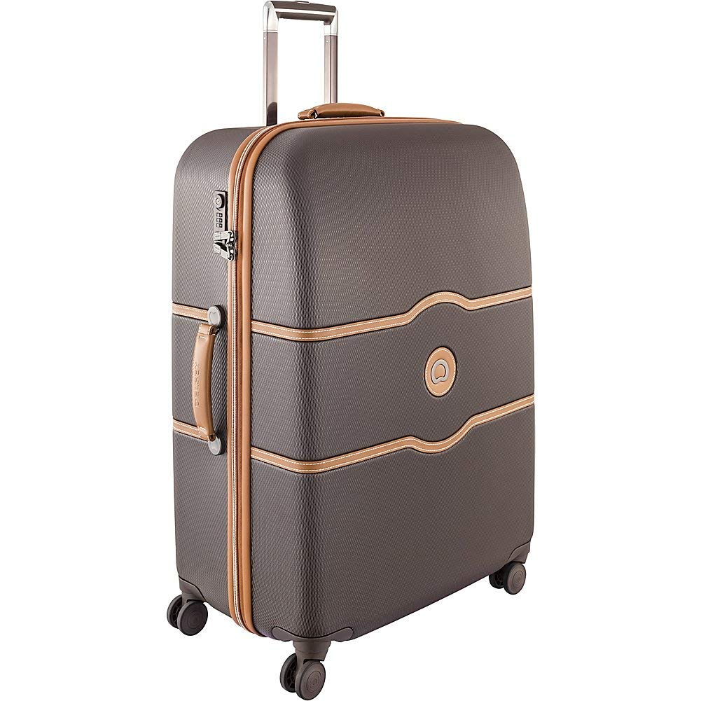 Desley Luggage Cgatete Hard + , Large Checked Luggage Hard Case Spinner Suitcase ,Choocolate Brown