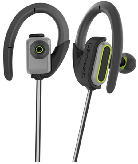 Braven Flye Sport Reflect Bluetooth Earbuds - Silver _ Green_ Cell P