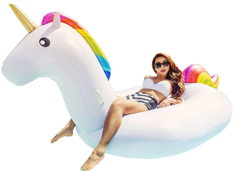CAPTAIN FLOATY Giant Inflatable Unicorn Pool Float, Pool Toy, Huge 8