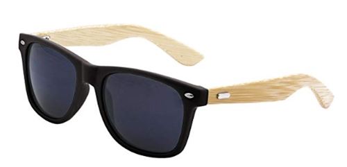 LogoLenses Men's Bamboo Wood Arms Classic Sunglasses Black_ Clothing