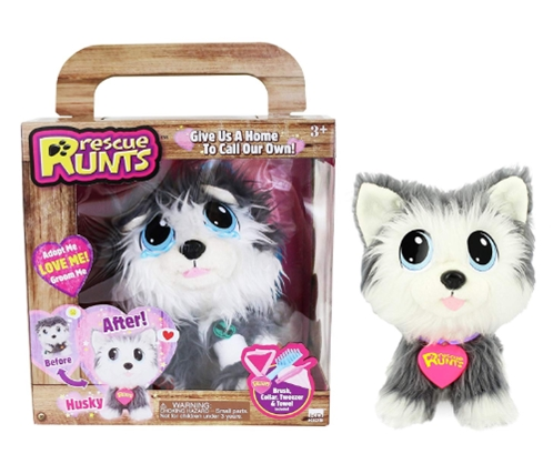 Rescue Runts Husky Plush Dog, White_Gray_ Toys & Games