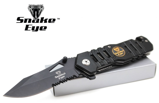 Snake Eye Tactical Rescue Style Assisted Opening Knife with Clip Ca