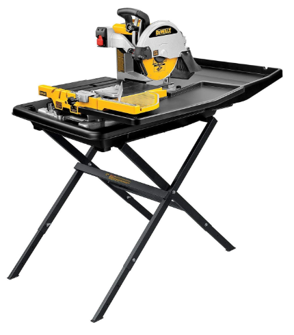 DEWALT D24000S Heavy-Duty 10-inch Wet Tile Saw with Stand - Power Tile Saws - Am