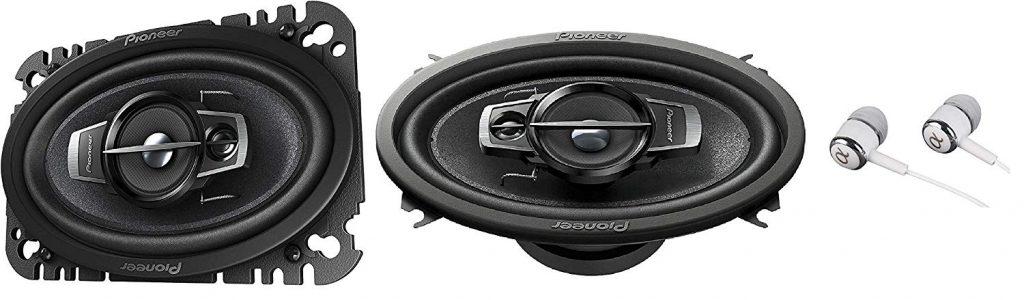 "Pioneer 4"" x 6"" 200 Watts Max 3-Way A-Series Car Audio Coaxial Speakers with Carbon and Mica Reinforced IMPP Woofer / Free Alphasonik Earbuds"