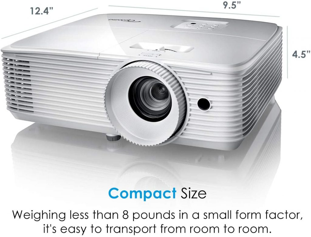 Optoma EH412 1080P HDR DLP Professional Projector | Super Bright 4500 Lumens | Business Presentations, Classrooms, and Meeting Rooms | 15000 Hour Lamp Life | 4K HDR Input | Speaker Built in , White